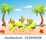 happy three cartoon duck on the ... | Shutterstock .eps vector #312445658