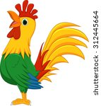 cute rooster cartoon | Shutterstock .eps vector #312445664