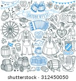 oktoberfest themed doodle set.... | Shutterstock .eps vector #312450050