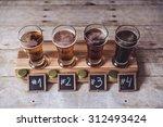 craft beer tasting  wood... | Shutterstock . vector #312493424