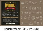 restaurant fast foods menu on... | Shutterstock .eps vector #312498830