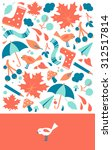 cute postcard with orange and... | Shutterstock .eps vector #312517814