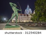 Stock photo hannover germany august city hall of hannover germany by night 312540284