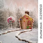 Gingerbread House In A Winter...