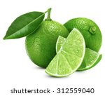 lime fruit with leaf isolated... | Shutterstock . vector #312559040