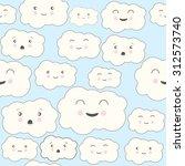 vector seamless cloud pattern.... | Shutterstock .eps vector #312573740