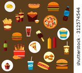 takeaway and fast food flat... | Shutterstock .eps vector #312574544