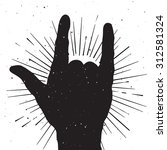 rock hand sign silhouette ... | Shutterstock . vector #312581324