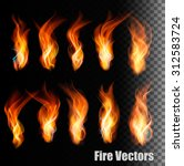 fire vectors on transparent... | Shutterstock .eps vector #312583724