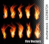 fire vectors on transparent... | Shutterstock .eps vector #312583724