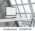 office workspace with empty... | Shutterstock . vector #312585734