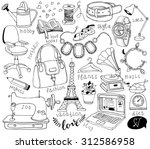 hand drawn accessories doodles | Shutterstock .eps vector #312586958
