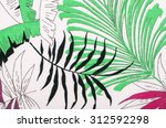 tropical leaves pattern on... | Shutterstock . vector #312592298