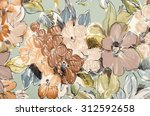 floral pattern on fabric. brown ... | Shutterstock . vector #312592658