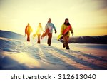 group of snowboarders on top of ... | Shutterstock . vector #312613040