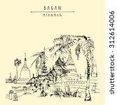 bagan  myanmar  burma . ancient ... | Shutterstock .eps vector #312614006