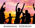 summer beach party sunset... | Shutterstock . vector #312616214