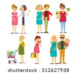 pregnant women and family | Shutterstock .eps vector #312627938