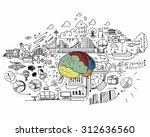 sketch of human brain and... | Shutterstock . vector #312636560