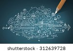 planning concept with pencil... | Shutterstock . vector #312639728