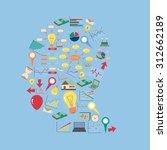 creative human brain with... | Shutterstock .eps vector #312662189