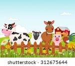 happy farm animal cartoon...