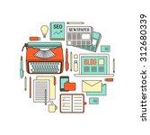 copywriter  blogger and... | Shutterstock .eps vector #312680339