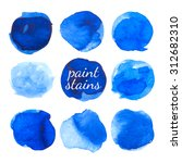 set of blue ink stains isolated ... | Shutterstock .eps vector #312682310