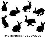 Stock vector set of rabbit silhouettes vector image 312693803