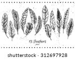 hand drawn vector vintage... | Shutterstock .eps vector #312697928