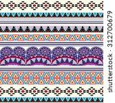 tribal art boho seamless... | Shutterstock .eps vector #312700679