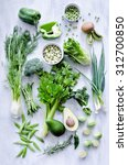 variety of green vegetables... | Shutterstock . vector #312700850