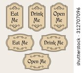 vintage vector set with labels... | Shutterstock .eps vector #312707096