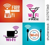 set  images for wi fi cafe and... | Shutterstock . vector #312707360