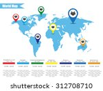 map of earth with infographics... | Shutterstock . vector #312708710