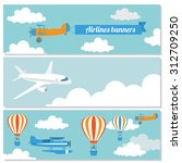 set of flying airplanes banners ... | Shutterstock .eps vector #312709250