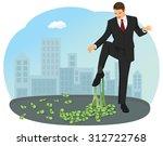 businessman foot stuck in the... | Shutterstock .eps vector #312722768