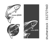jumping salmon fish  for label  ... | Shutterstock .eps vector #312727460