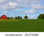red barn on a hill surrounded... | Shutterstock . vector #31274284