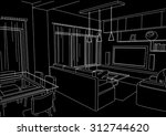 linear architectural sketch... | Shutterstock .eps vector #312744620