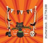 halloween decoration greeting... | Shutterstock .eps vector #312756188