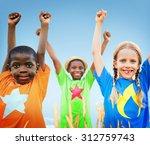 kids diverse playing sky field... | Shutterstock . vector #312759743