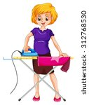 woman ironing clothes on the... | Shutterstock .eps vector #312768530