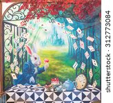 "Small photo of Bangkok - AUG 12, 2015 : ""Alice's Adventures in Wonderland"" theme wall painting replica from ""A Mad Tea-Party"" scene. A Novel, by an English author Lewis Carroll, was reproduced as movies & animations"