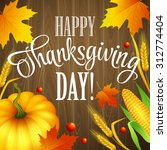 hand drawn thanksgiving... | Shutterstock .eps vector #312774404