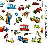 funny cars. kids seamless... | Shutterstock . vector #312777344