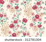 seamless cute flower vector... | Shutterstock .eps vector #312781304