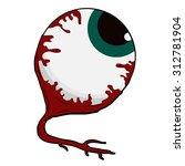 halloween eyeball cartoon on... | Shutterstock .eps vector #312781904