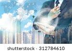 double exposure of businessman... | Shutterstock . vector #312784610