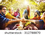 friends outdoors camping... | Shutterstock . vector #312788870